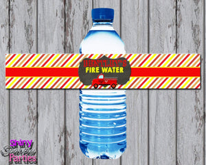 Printable Firetruck Water Bottle Labels (Digital File Only)-Digital Download,Printable File-Forever Fab Boutique
