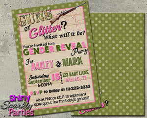 Printable Gender Reveal Party Invitation - Guns Or Glitter Invitation (Digital File Only)-Digital Download-Forever Fab Boutique