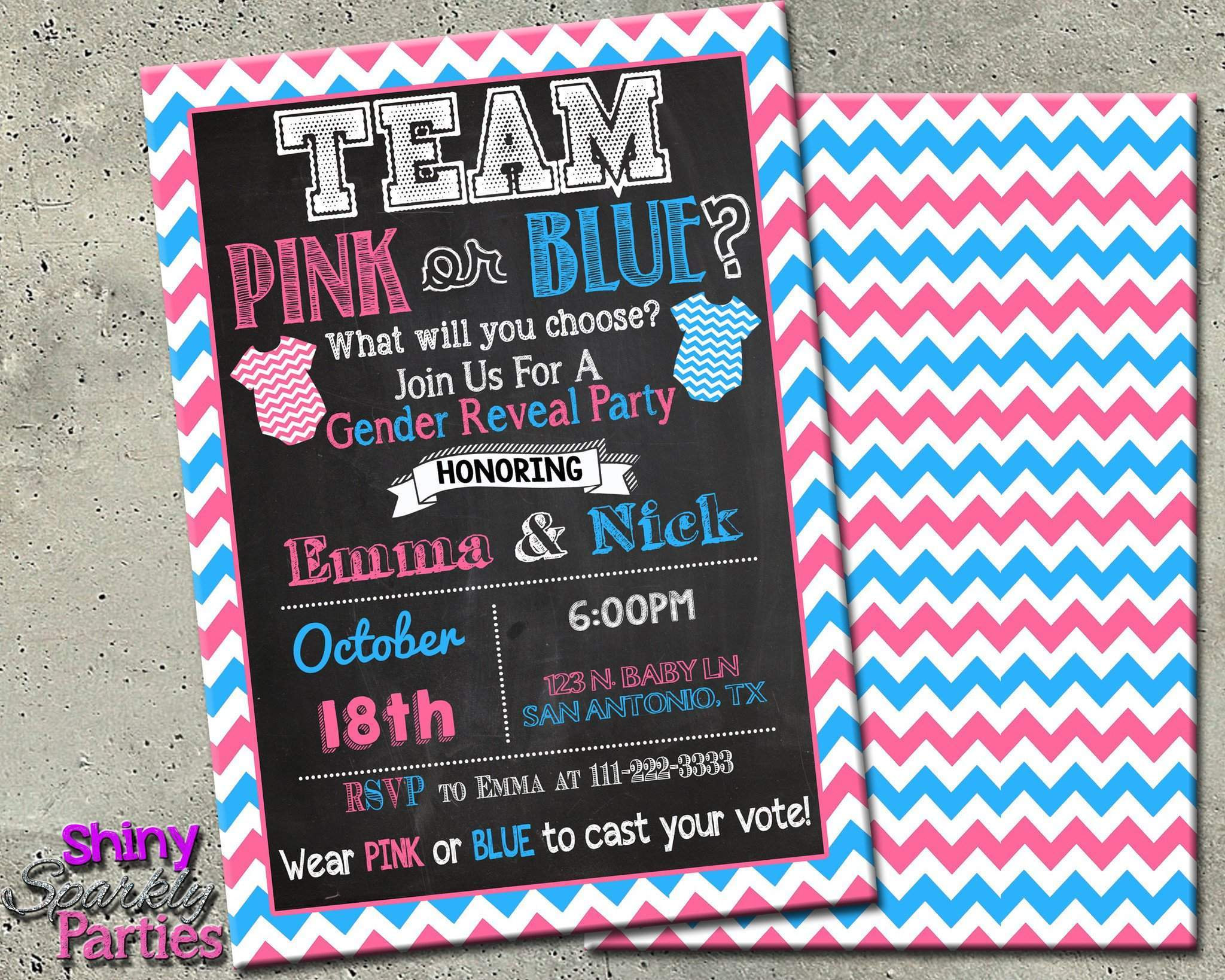 Gender Reveal Party Invitation - Team Pink Or Blue Invitation ...