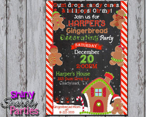 Printable Gingerbread Cookie Decorating Party Invitation (Digital File Only)-Digital Download-Forever Fab Boutique