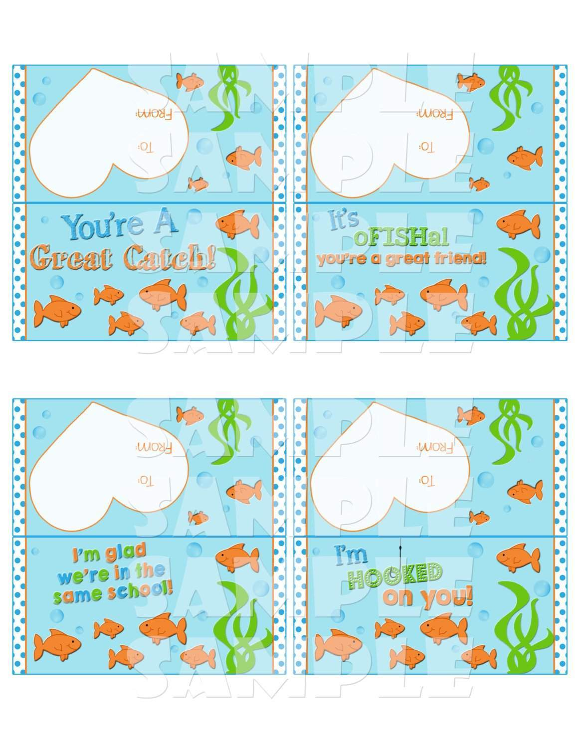 picture regarding Goldfish Valentine Printable named Goldfish Valentine Deal with Bag Toppers