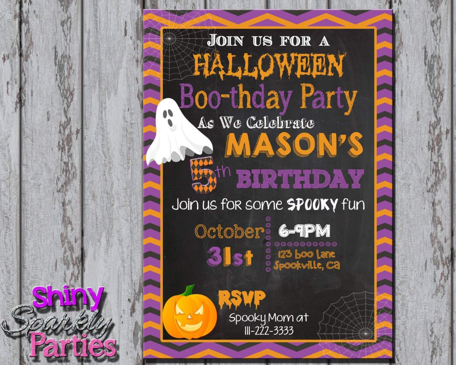halloween birthday invitation forever fab boutique