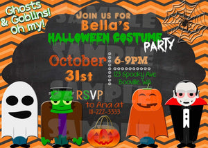 Printable Halloween Costume Party Invitation (Digital File Only)-Digital Download-Forever Fab Boutique