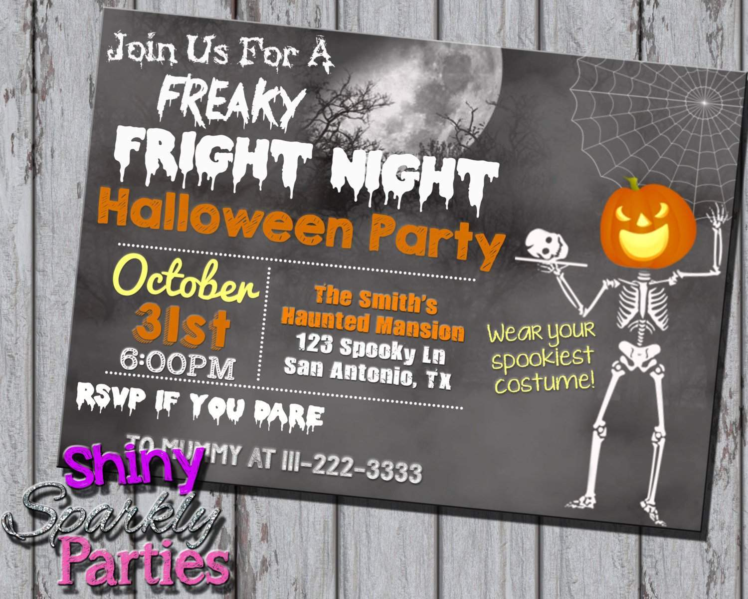 graphic about Printable Halloween Party Invitations referred to as Halloween Get together Invitation - Endlessly Fab Boutique