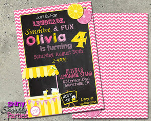Printable Lemonade Stand Birthday Invitation (Digital File Only)-Digital Download-Forever Fab Boutique