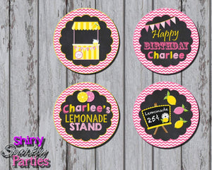 Printable Lemonade Stand Cupcake Toppers (Digital File Only)-Digital Download,Printable File-Forever Fab Boutique