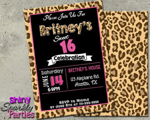 Printable Leopard Print Invitation - Sweet Sixteen Invitation-Digital Download-Forever Fab Boutique