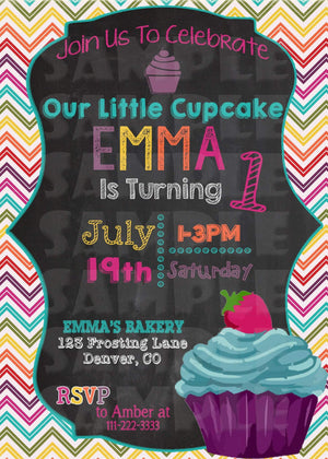 Printable Little Cupcake Birthday Invitation (Digital File Only)-Digital Download-Forever Fab Boutique