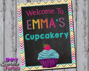 Printable Little Cupcake Party Sign (Digital File Only)-Digital Download-Forever Fab Boutique
