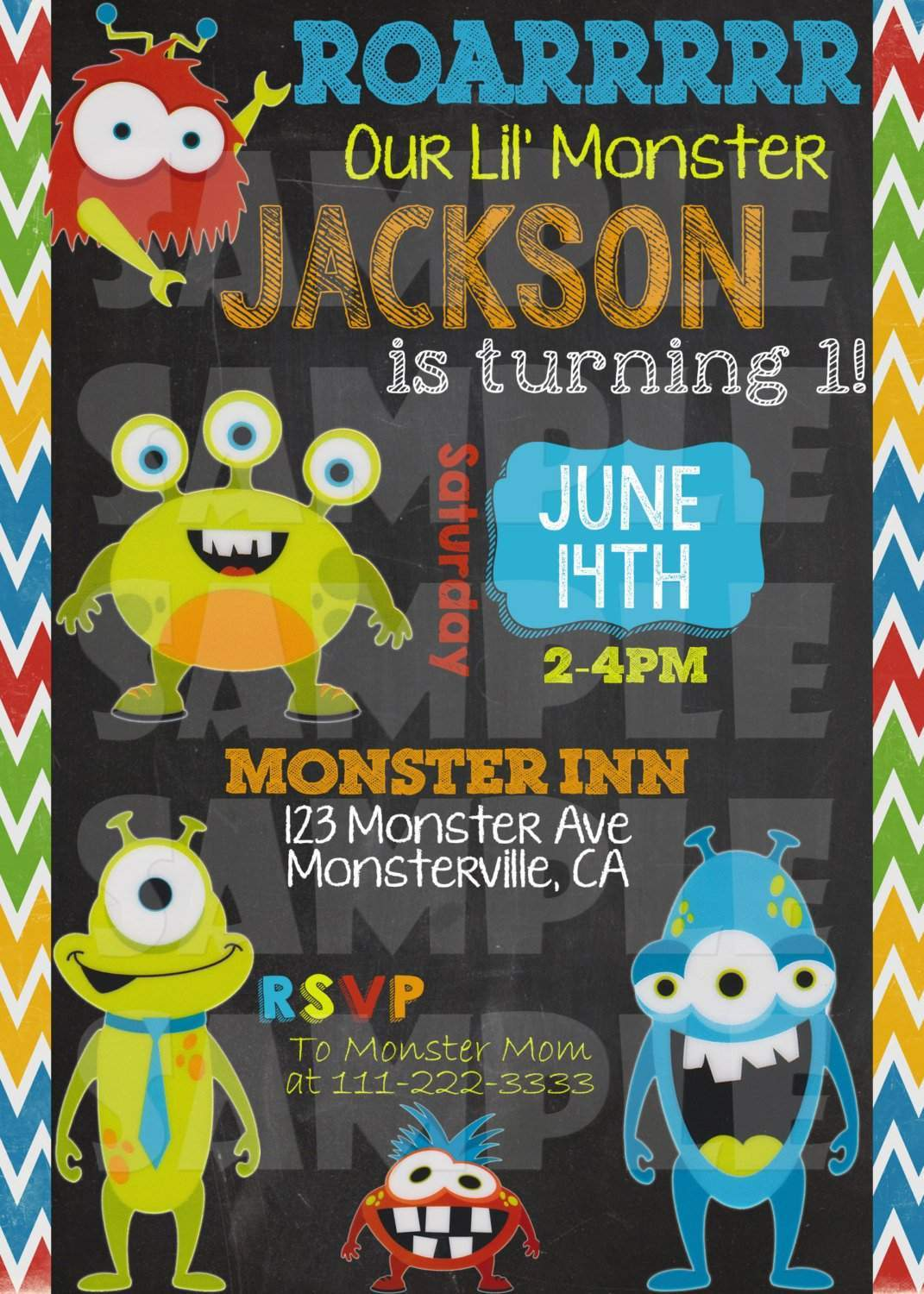 Little Monster Birthday Invitation Forever Fab Boutique
