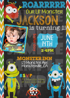 Printable Little Monster Birthday Invitation (Digital File Only)-Digital Download-Forever Fab Boutique