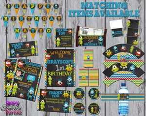 Printable Little Monster Birthday Party Banner (Digital File Only)-Digital Download-Forever Fab Boutique