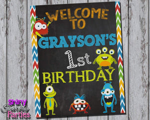 Printable Little Monster Birthday Party Sign (Digital File Only)-Digital Download,Printable File-Forever Fab Boutique