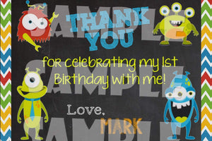 Printable Little Monster Birthday Thank You Card (Digital File Only)-Digital Download-Forever Fab Boutique