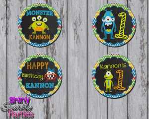 Printable Little Monster Cupcake Toppers (Digital File Only)-Digital Download-Forever Fab Boutique