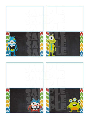 Printable Little Monster Food Tent Signs Editable (Digital File Only)-Forever Fab Boutique