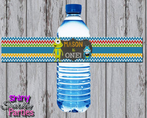 Printable Little Monster Water Bottle Labels (Digital File Only)-Digital Download-Forever Fab Boutique