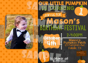 Printable Little Pumpkin Birthday Invitation (Digital File Only)-Digital Download-Forever Fab Boutique