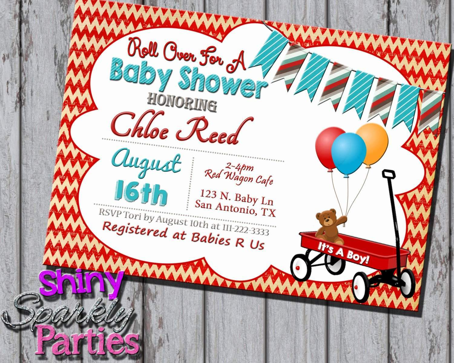 Little Red Wagon Baby Shower Invitation - Forever Fab Boutique