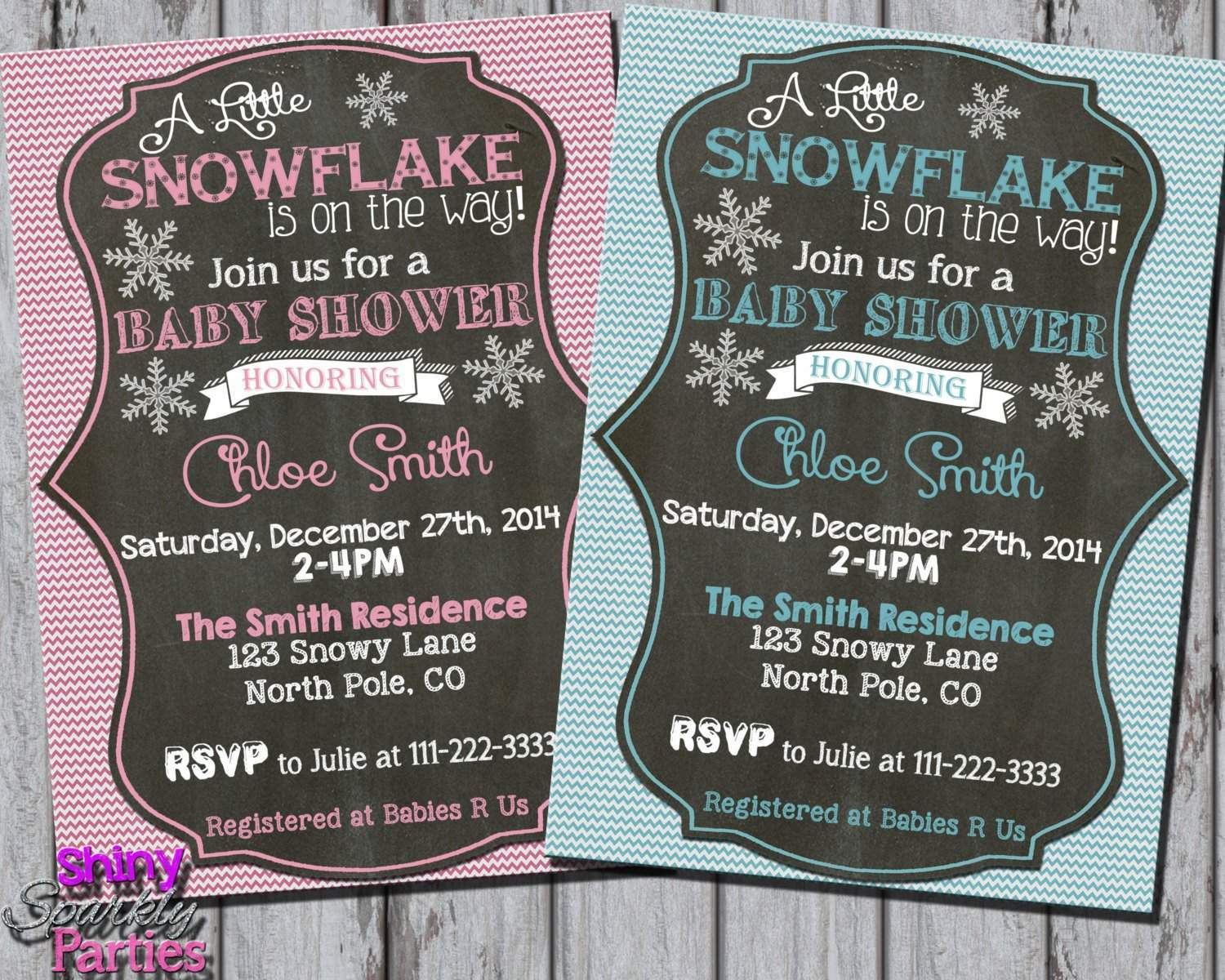 Little Snowflake Winter Baby Shower Invitation - Forever Fab Boutique
