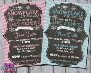 Printable Little Snowflake Winter Baby Shower Invitation (Digital File Only)-Digital Download-Forever Fab Boutique
