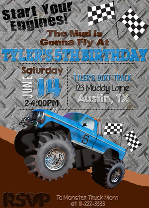 Printable Monster Truck Birthday Invitation (Digital File Only)-Digital Download-Forever Fab Boutique