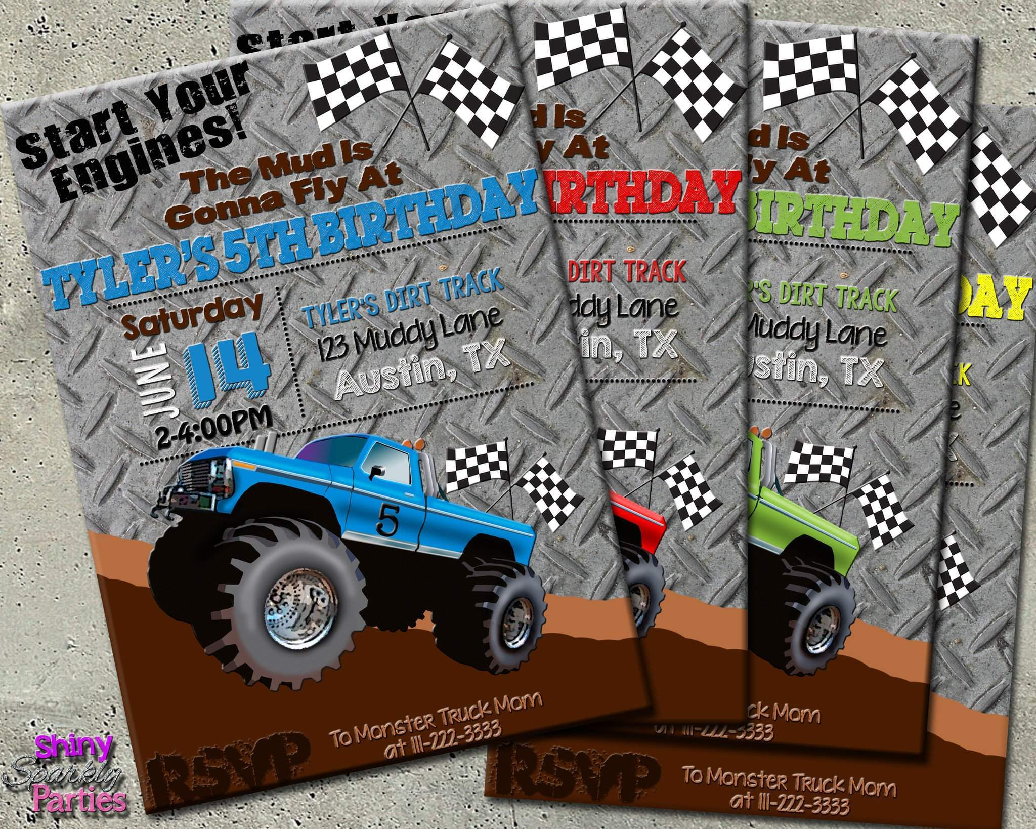 This is a picture of Monster Truck Birthday Invitations Free Printable for handmade