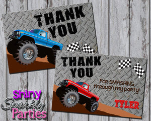 Printable Monster Truck Birthday Thank You Card (Digital File Only)-Digital Download-Forever Fab Boutique