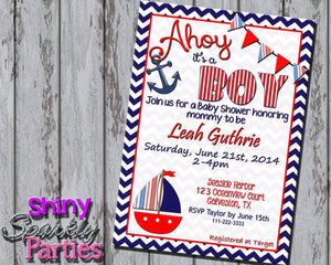 Printable Nautical Baby Shower Invitation - Sailboat Baby Shower Invitation (Digital File Only)-Digital Download-Forever Fab Boutique