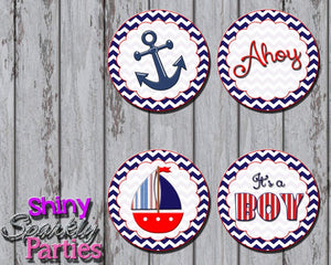 Printable Nautical Sailboat Cupcake Toppers (Digital File Only)-Digital Download-Forever Fab Boutique