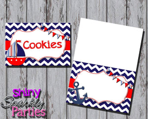 Printable Nautical Sailboat Food Tent Signs Editable (Digital File Only)-Forever Fab Boutique