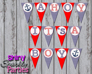 Printable Nautical Sailboat Pendant Party Banner - Ahoy It's A Boy Banner (Digital Files Only)-Digital Download-Forever Fab Boutique