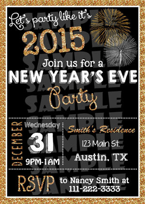 Printable New Years Party Invitation (Digital File Only)-Digital Download-Forever Fab Boutique