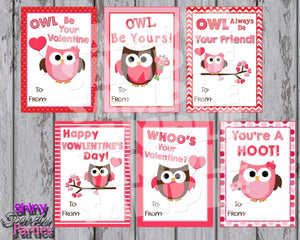 Printable Owl Valentine Cards (Digital File Only)-Forever Fab Boutique