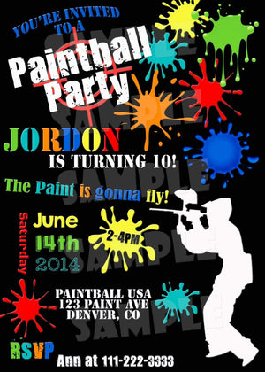 Printable Paintball Birthday Invitation (Digital File Only)-Digital Download-Forever Fab Boutique