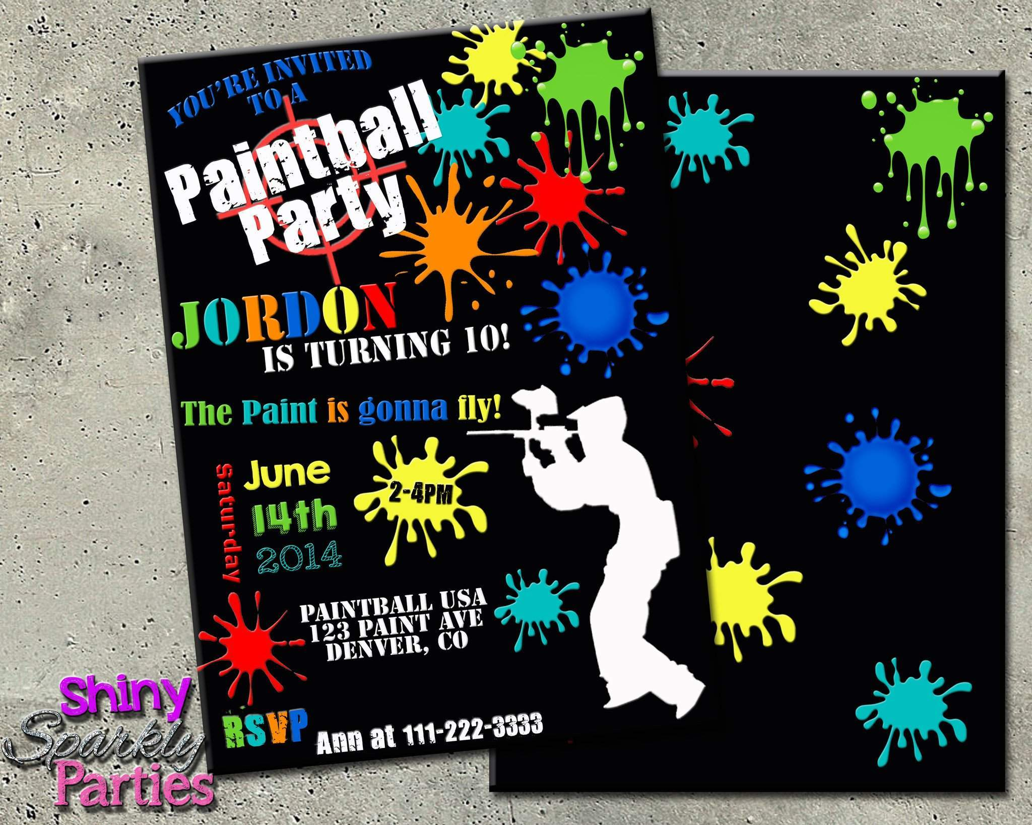 Printable Paintball Birthday Invitation Digital File Only Download Forever Fab Boutique