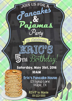 Printable Pancakes And Pajamas Birthday Invitation (Digital File Only)-Digital Download-Forever Fab Boutique