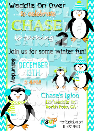Printable Penguin Birthday Party Invitation (Digital File Only)-Digital Download-Forever Fab Boutique