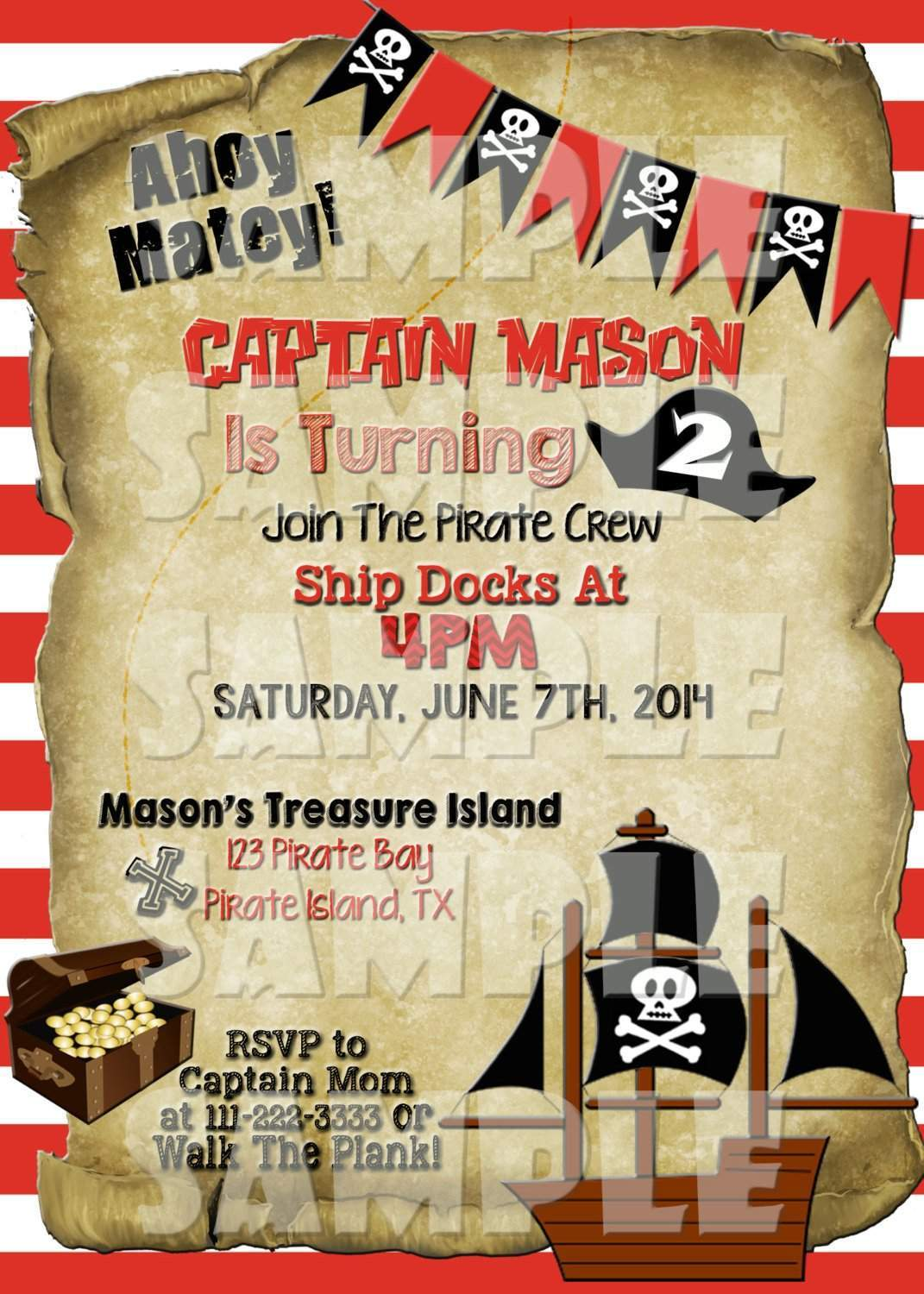 Pirate birthday party invitation forever fab boutique printable pirate birthday party invitation digital file only digital download forever fab filmwisefo