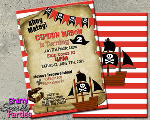 Printable Pirate Birthday Party Invitation (Digital File Only)-Digital Download-Forever Fab Boutique