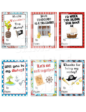 Printable Pirate Valentine Cards (Digital File Only)-Forever Fab Boutique