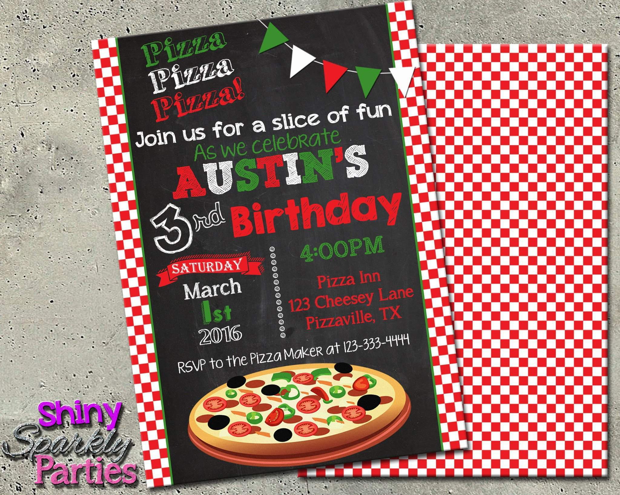 Pizza party birthday invitation forever fab boutique printable pizza party birthday invitation digital file only digital download forever fab stopboris Image collections
