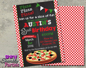 Printable Pizza Party Birthday Invitation (Digital File Only)-Digital Download-Forever Fab Boutique