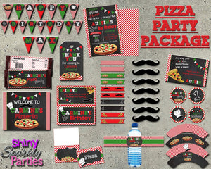 Printable Pizza Party Birthday Package (Digital Files Only)-Digital Download, Printable File, Party Package-Forever Fab Boutique