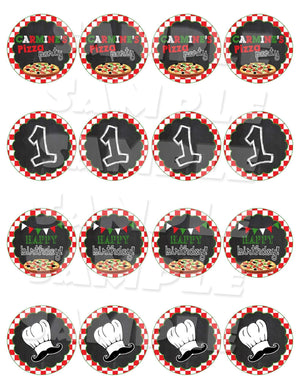 Printable Pizza Party Cupcake Toppers (Digital File Only)-Digital Download, Printable File-Forever Fab Boutique