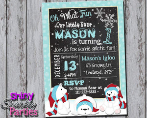 Printable Polar Bear Birthday Invitation (Digital File Only)-Digital Download-Forever Fab Boutique