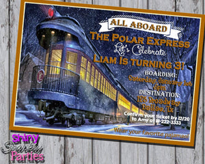 Printable Polar Express Birthday Invitation (Digital File Only)-Digital Download-Forever Fab Boutique