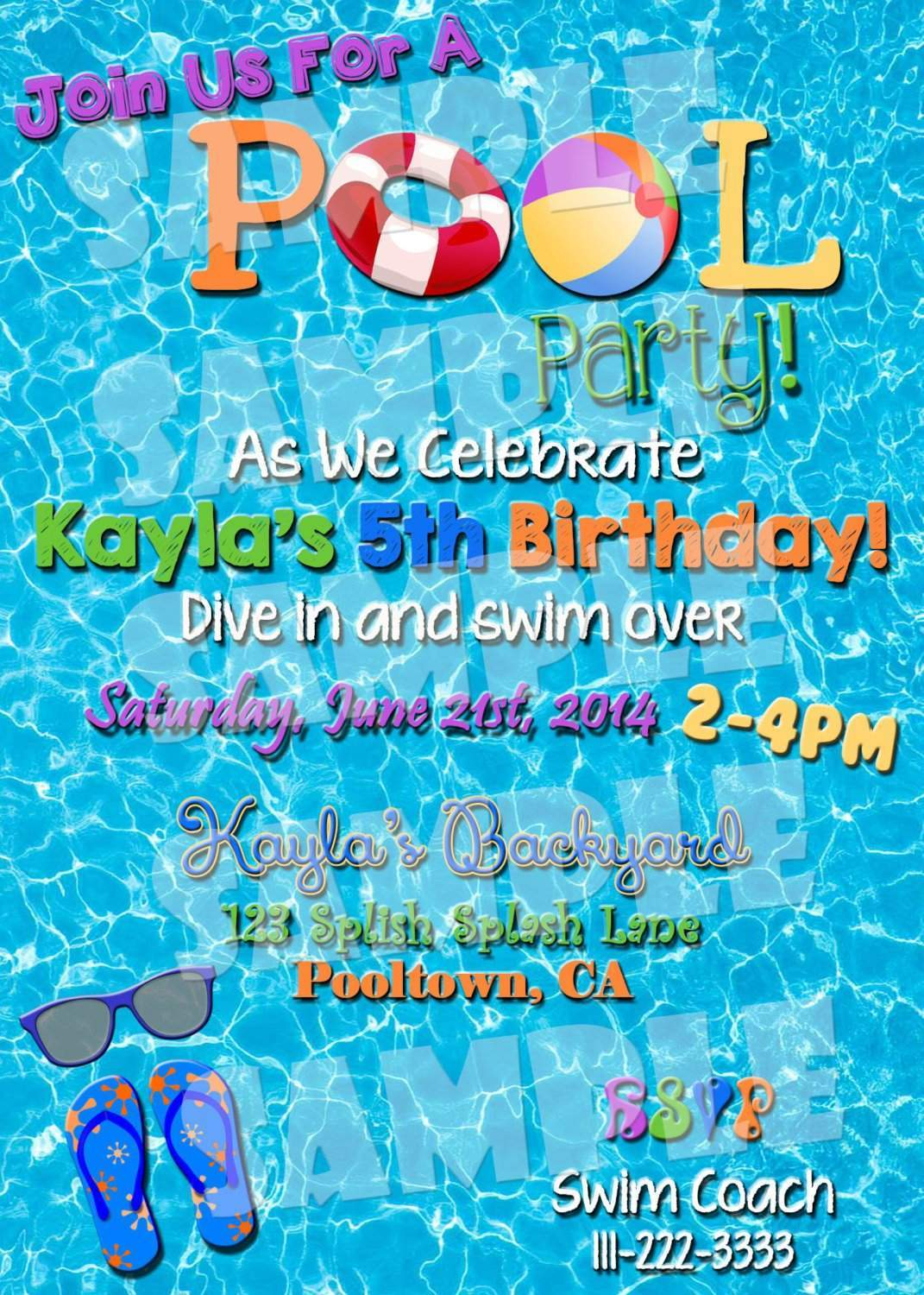 image about Printable Pool Party Invitations named Pool Get together Invitation