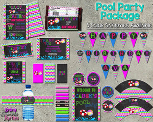 Printable Pool Party Package - 5 Color Schemes Available (Digital Files Only)-Digital Download, Printable File, Party Package-Forever Fab Boutique