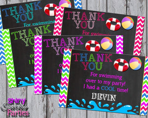 Printable Pool Party Thank You Card (Digital File Only)-Digital Download,Printable File-Forever Fab Boutique